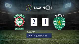 Liga NOS (34ªJ): Resumo Marítimo M. 2-1 Sporting CP