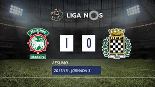 Liga NOS (3ªJ): Resumo Marítimo M. 1-0 Boavista FC