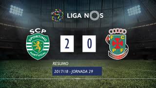 I Liga (29ªJ): Resumo Sporting CP 2-0 FC P.Ferreira