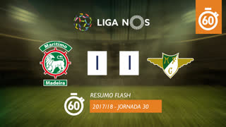 Liga NOS (30ªJ): Resumo Flash Marítimo M. 1-1 Moreirense FC