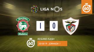 Liga NOS (1ªJ): Resumo Flash Marítimo M. 1-0 Sta. Clara