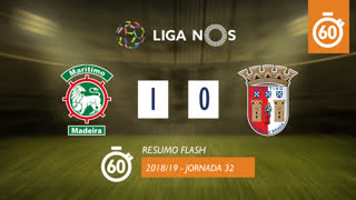 Liga NOS (32ªJ): Resumo Flash Marítimo M. 1-0 SC Braga
