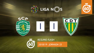 I Liga (33ªJ): Resumo Flash Sporting CP 1-1 CD Tondela
