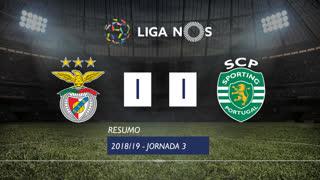 Liga NOS (3ªJ): Resumo SL Benfica 1-1 Sporting CP