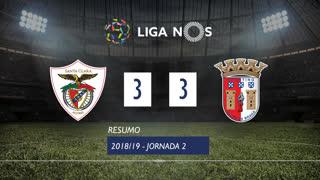 Liga NOS (2ªJ): Resumo Sta. Clara 3-3 SC Braga