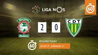 I Liga (31ªJ): Resumo Flash Marítimo M. 2-0 CD Tondela