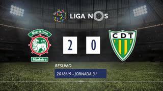Liga NOS (31ªJ): Resumo Marítimo M. 2-0 CD Tondela