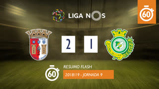 Liga NOS (9ªJ): Resumo Flash SC Braga 2-1 Vitória FC