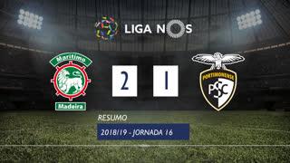 Liga NOS (16ªJ): Resumo Marítimo M. 2-1 Portimonense