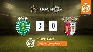 Liga NOS (22ªJ): Resumo Flash Sporting CP 3-0 SC Braga