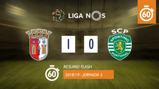Liga NOS (5ªJ): Resumo Flash SC Braga 1-0 Sporting CP