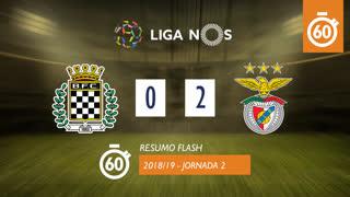 Liga NOS (2ªJ): Resumo Flash Boavista FC 0-2 SL Benfica