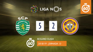Liga NOS (13ªJ): Resumo Flash Sporting CP 5-2 CD Nacional