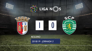 Liga NOS (5ªJ): Resumo SC Braga 1-0 Sporting CP