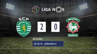 Liga NOS (6ªJ): Resumo Sporting CP 2-0 Marítimo M.