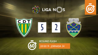 Liga NOS (34ªJ): Resumo Flash CD Tondela 5-2 GD Chaves
