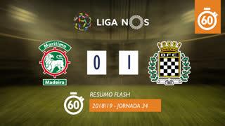 Liga NOS (34ªJ): Resumo Flash Marítimo M. 0-1 Boavista FC