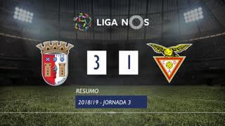 Liga NOS (3ªJ): Resumo SC Braga 3-1 CD Aves