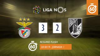 Liga NOS (1ªJ): Resumo Flash SL Benfica 3-2 Vitória SC