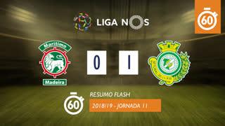 Liga NOS (11ªJ): Resumo Flash Marítimo M. 0-1 Vitória FC