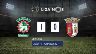 Liga NOS (32ªJ): Resumo Marítimo M. 1-0 SC Braga