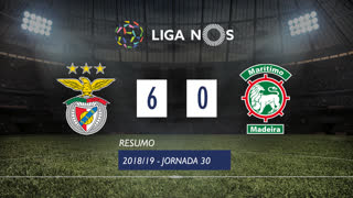Liga NOS (30ªJ): Resumo SL Benfica 6-0 Marítimo M.