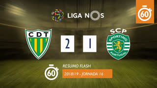 Liga NOS (16ªJ): Resumo Flash CD Tondela 2-1 Sporting CP