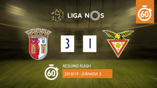Liga NOS (3ªJ): Resumo Flash SC Braga 3-1 CD Aves