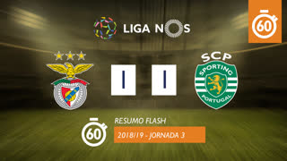 Liga NOS (3ªJ): Resumo Flash SL Benfica 1-1 Sporting CP