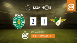 Liga NOS (18ªJ): Resumo Flash Sporting CP 2-1 Moreirense FC