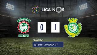 Liga NOS (11ªJ): Resumo Marítimo M. 0-1 Vitória FC