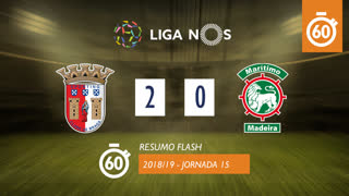 Liga NOS (15ªJ): Resumo Flash SC Braga 2-0 Marítimo M.