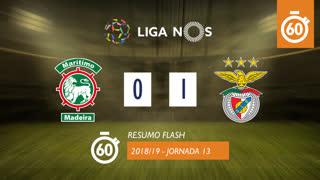 Liga NOS (13ªJ): Resumo Flash Marítimo M. 0-1 SL Benfica
