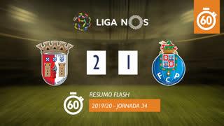 Liga NOS (34ªJ): Resumo Flash SC Braga 2-1 FC Porto