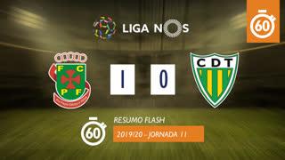 Liga NOS (11ªJ): Resumo Flash FC P.Ferreira 1-0 CD Tondela