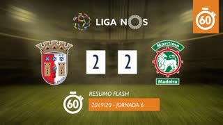 Liga NOS (6ªJ): Resumo Flash SC Braga 2-2 Marítimo M.