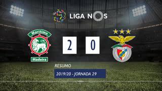 Liga NOS (29ªJ): Resumo Marítimo M. 2-0 SL Benfica