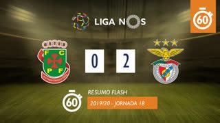 Liga NOS (18ªJ): Resumo Flash FC P.Ferreira 0-2 SL Benfica