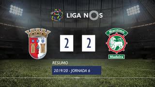 Liga NOS (6ªJ): Resumo SC Braga 2-2 Marítimo M.
