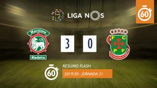 Liga NOS (21ªJ): Resumo Flash Marítimo M. 3-0 FC P.Ferreira