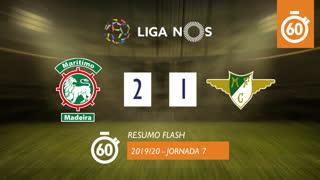 Liga NOS (7ªJ): Resumo Flash Marítimo M. 2-1 Moreirense FC