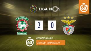 Liga NOS (29ªJ): Resumo Flash Marítimo M. 2-0 SL Benfica