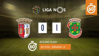 Liga NOS (14ªJ): Resumo Flash SC Braga 0-1 FC P.Ferreira