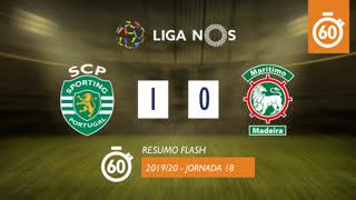 Liga NOS (18ªJ): Resumo Flash Sporting CP 1-0 Marítimo M.