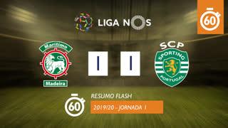 Liga NOS (1ªJ): Resumo Flash Marítimo M. 1-1 Sporting CP