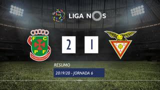 Liga NOS (6ªJ): Resumo FC P.Ferreira 2-1 CD Aves