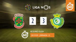 Liga NOS (13ªJ): Resumo Flash FC P.Ferreira 2-3 Vitória FC