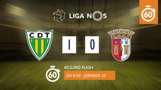 Liga NOS (33ªJ): Resumo Flash CD Tondela 1-0 SC Braga
