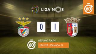 Liga NOS (21ªJ): Resumo Flash SL Benfica 0-1 SC Braga
