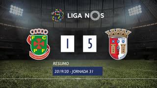 Liga NOS (31ªJ): Resumo FC P.Ferreira 1-5 SC Braga